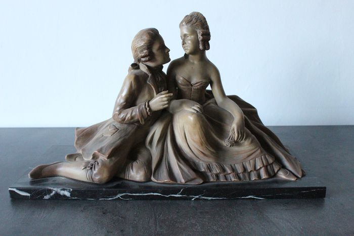Johannes Dommisse (1878-1955) - Sculpture, couple in love - Terracotta - Early 20th century