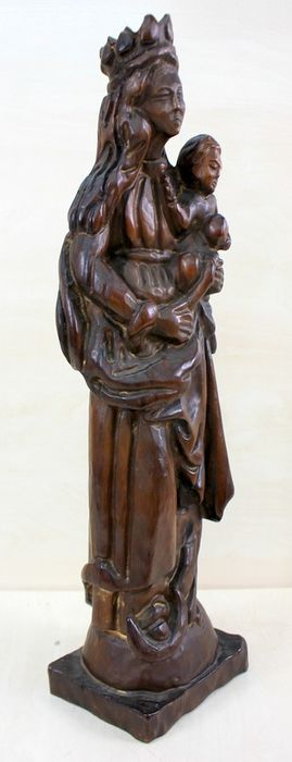 Hand-carved Holy Madonna with Child - Wood