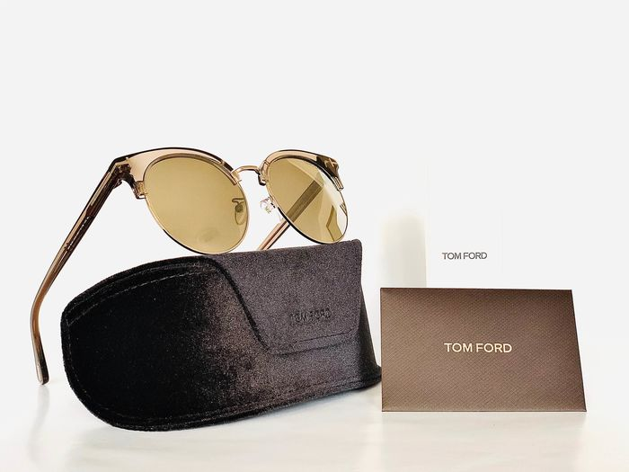 Tom Ford - FT0545-K-96G, Mirrored, Cat *3, Brown & Gold Clubmaster, *Brand-new designer Sunglasses