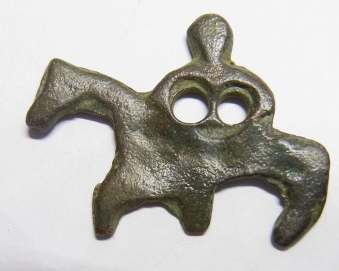 """Early medieval Bronze Viking """"NORDIC"""" rider AMULET"""