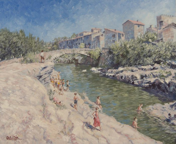 Chris van Dijk - Corbières / peoples near the river