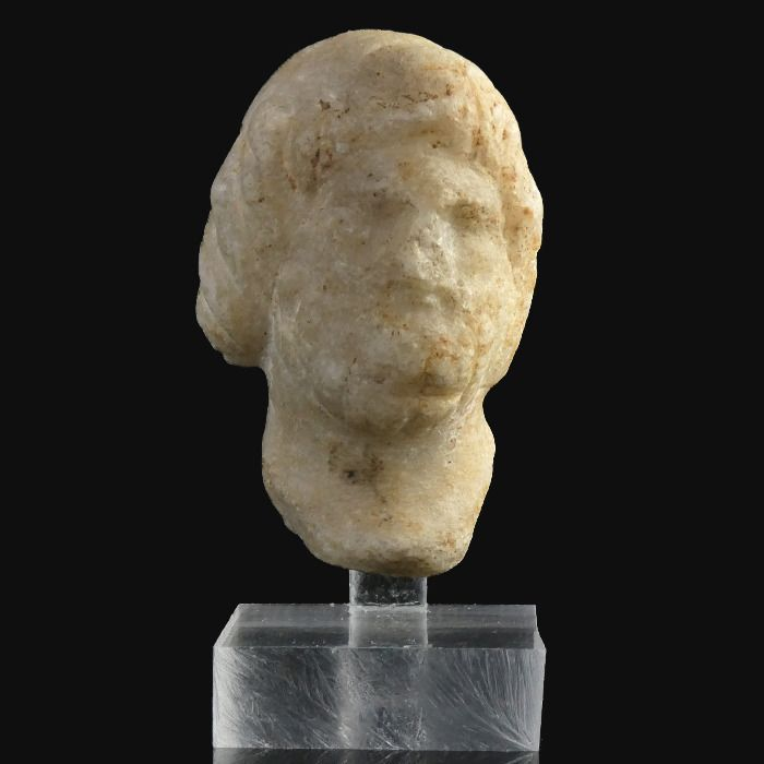 Ancient Roman Marble Head of Zeus  - (1)