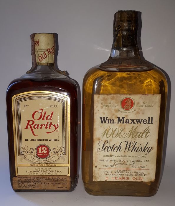 Old Rarity 12 years Bulloch Lade & WM. Maxwell 100% Malt 5 years old  - b. 1970s - 75cl - 2 bottles