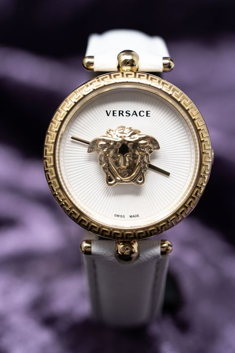 Versace - Palazzo Empire White IP Gold Stainless Steel 34mm White Leather Swiss Made - VECQ00218 - Women - Brand New