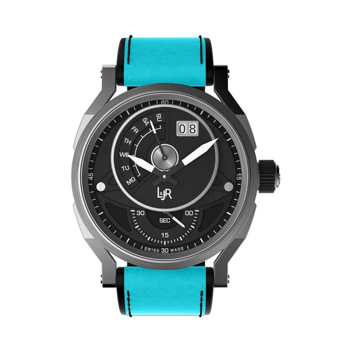 """L&Jr - Day and Date Black Dial with Blue Strap + Extra Black Strap - S1302-S9  """"NO RESERVE PRICE"""" - Men - 2011-present"""