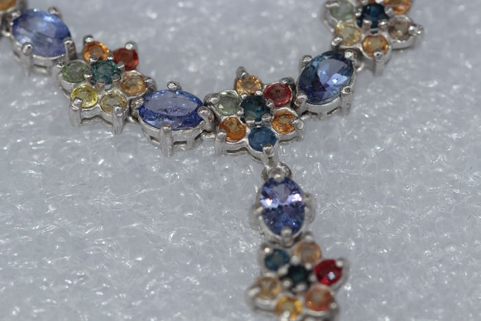 18k (gold plated) Silver chain set with tanzanite and multi-color sapphires Polished - 39 g