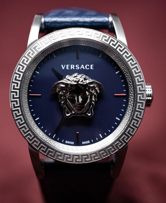 Versace - Palazzo Empire Watch Grey Stainless Steel Blue Dial Leather strap Swiss Made - VERD00118 - Men - Brand New