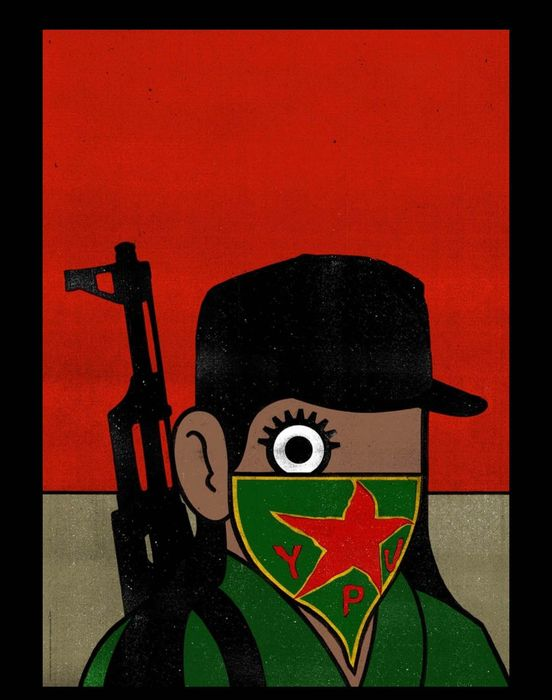 Paul Insect  - YPJ Solidarity for Rojava Dog Section Limited Run Of 500 Lithograph  - 2019 - Unknown