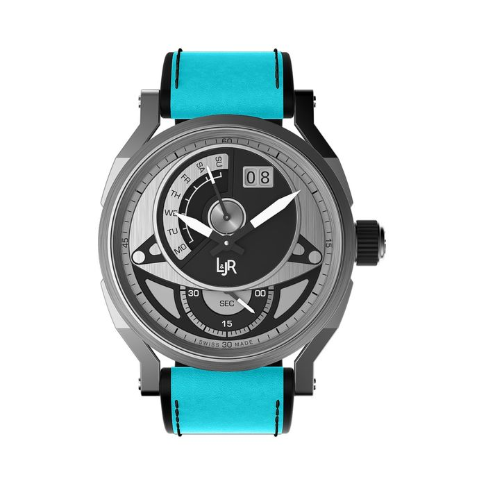 """L&Jr - Day and Date Black and Grey Dial with Blue Strap + Extra Black Strap  - S1303-S9  """"NO RESERVE PRICE"""" - Heren - 2011-heden"""