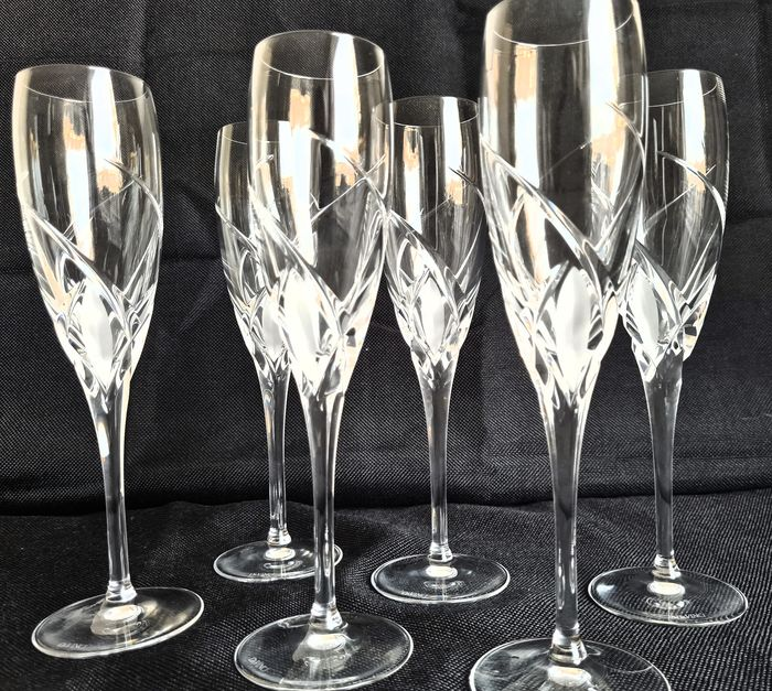 RCR Crystal  Da Vinci Grosetto - Champagne Glasses With Cut Crystal (6) - Kristal