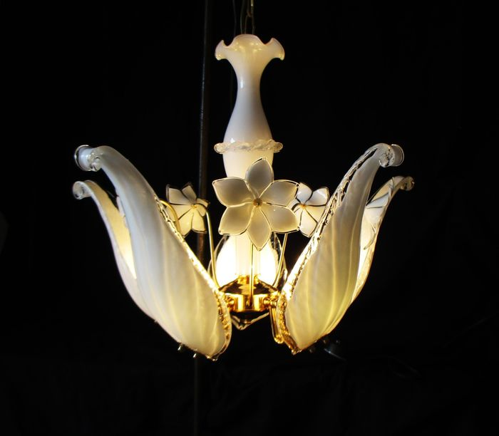 A mouth blown glass Murano style chandelier