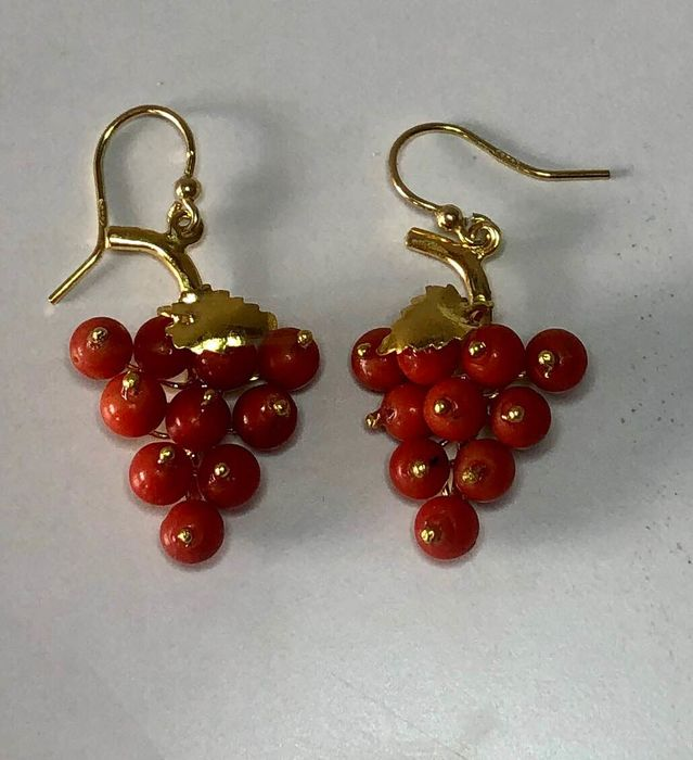 18 kt. Yellow gold - Earrings Red Coral of Sardinia