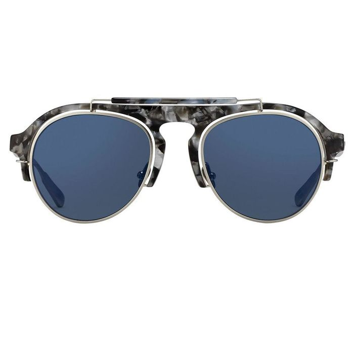 "Kris Van Assche - Aviator Navy Tortoiseshell Silver and Blue Mirror Lenses - KVA65C4SUN ""NO RESERVE PRICE"" Sunglasses"
