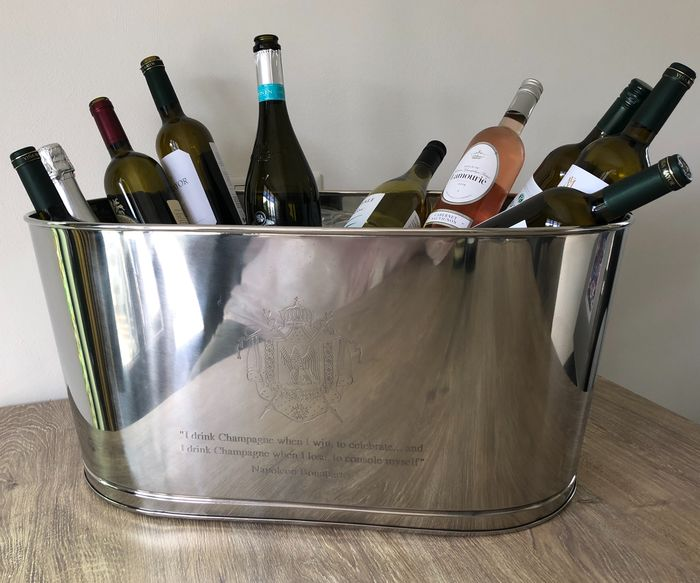 Champagne cooler - wine cooler with text Napoleon - Nickel-plated