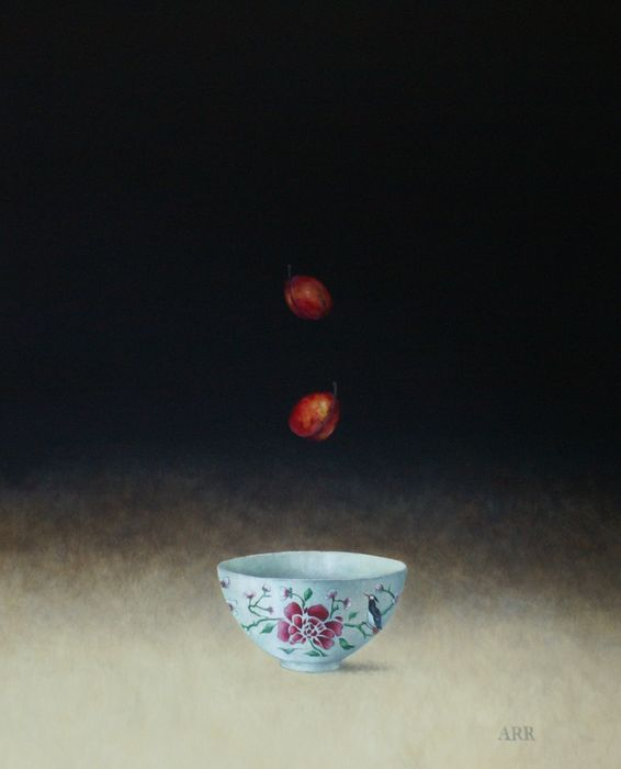 Alison Rankin - Rose Bowl with Two Falling Plums