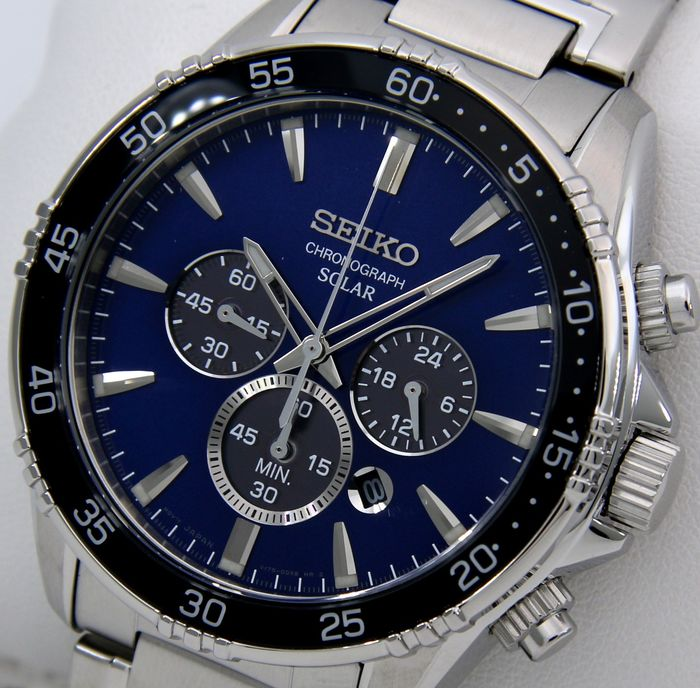 "Seiko - Solar Chronograph ""Elegant Blue Dial"" - ""NO RESERVE PRICE"" - Men - 2018"