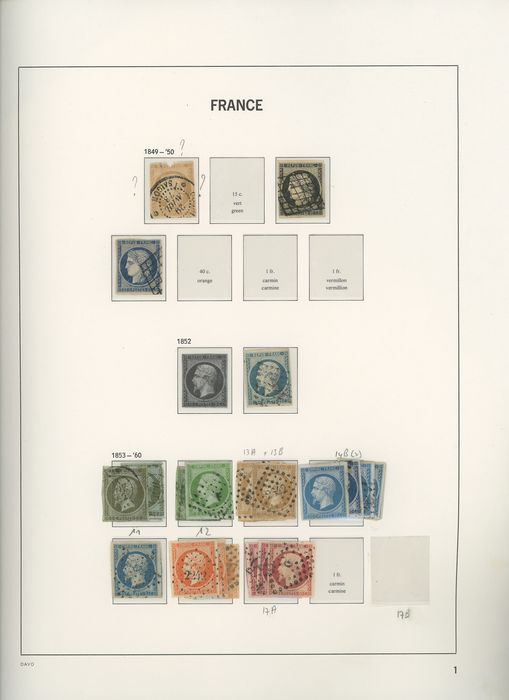France 1849/1898 - Collection/Accumulation of classic Ceres and Napoleon stamps for studying shades. - Yvert Entre les n°1 et 106
