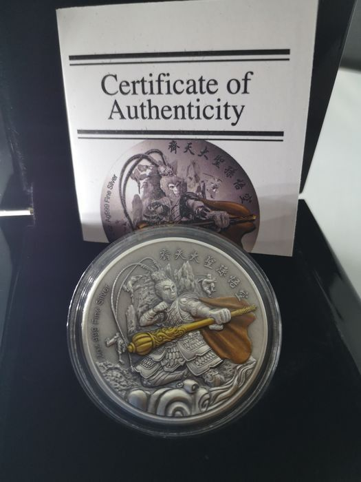 Niue - 5 Dollar 2019 The Battle God Series - Sun Wu Kong - Monkey King Antique Finish - 2 oz - Silver