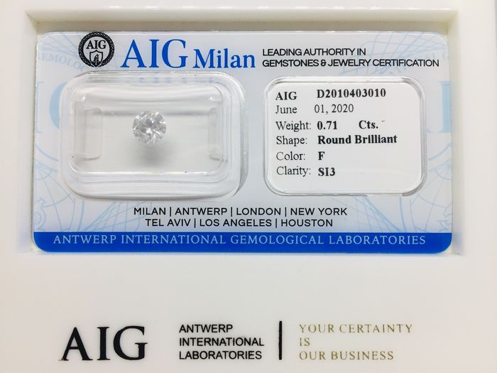 1 pcs Diamond - 0.71 ct - Brilliant, Round - F - SI3