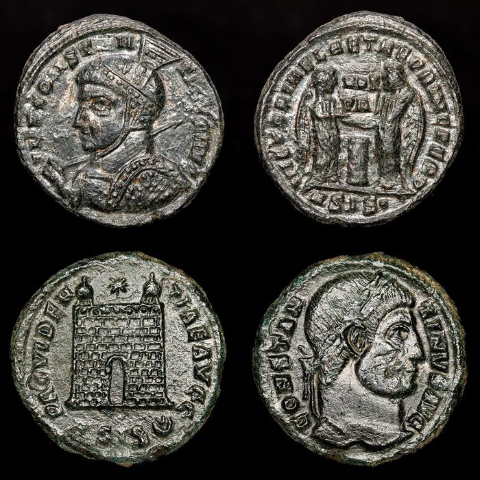 Römisches Reich - Lot comprising 2 coins from Siscia mint : Pseudo Argenteus - Follis.  Constantine I 'the Great' - VICTORIAE LAETAE PRINC PERP and PROVIDENTIAE AVGG - Bronze