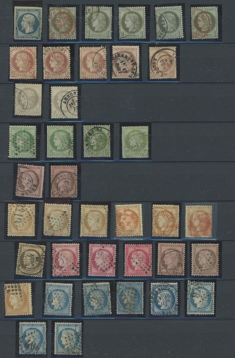 France 1852/1874 - Collection/Accumulation of classic Ceres and Napoleon stamps for studying shades and varieties. - Yvert Entre les n°10 et 60