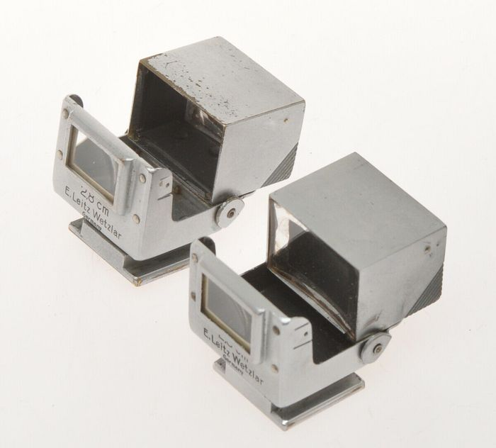 Leica (Leitz) couple of folding finders 2.8cm SUOOQ chrome for Leica 28mm Hektor
