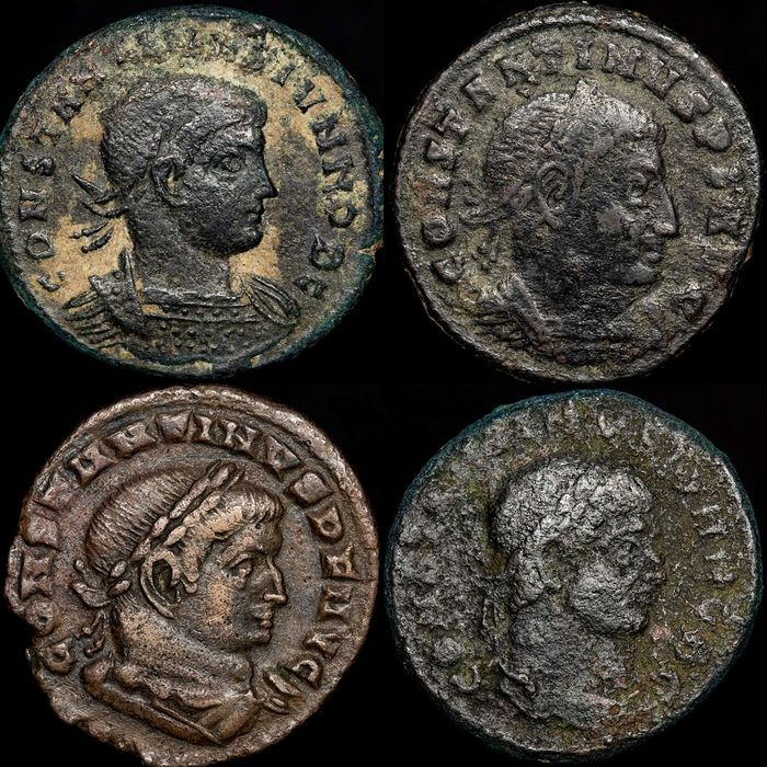 Római Birodalom - Lot comprising 4 Folles: Constantine I The Great - Constantine II as Caesar - Bronz