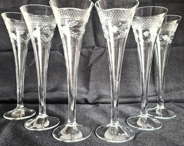 Hand Made Artistic Flower Print - Verres à champagne - Cristal