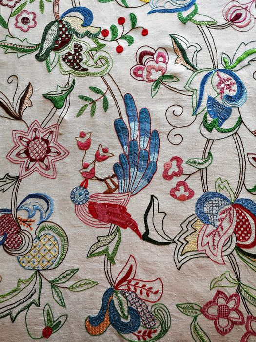 Linen curtain, large handmade embroidery - Linen - Early 20th century