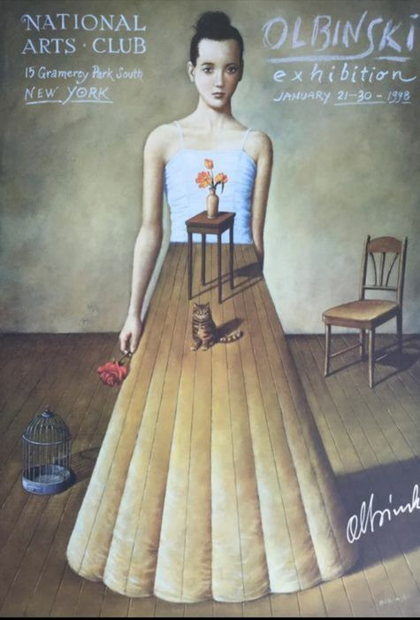 Rafal Olbinski - Femme au chat-National Arts Club New-York (handsigned) - 1998 - Jaren 1990