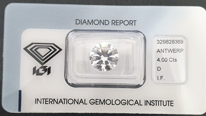 Diamond - 4.00 ct - Round - D (colourless) - IF (flawless), LC (loupe clean)