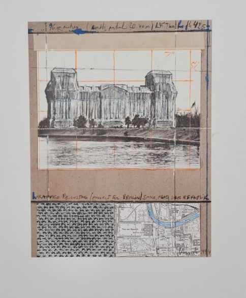 Christo - 3 graphics - Reichstag with silver foil - Gates - Over the river
