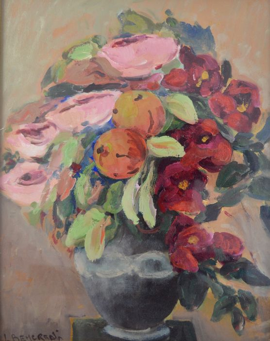 Continental school (20th century) - A still life of flowers in a vase