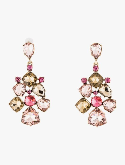 Oscar de la Renta Pink Crystal Earrings Earrings