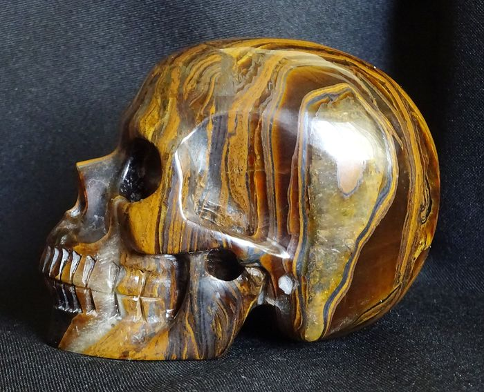 Tiger Eye Skull with Gold and Silver Layers - 101×77×65 mm - 740 g