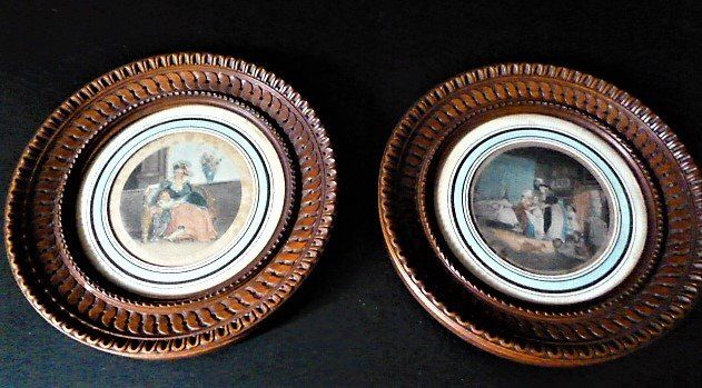Print, A.M. Degouy - Pair of hand-colored interiors - beautiful frame - France - around 1800 (2) - Paper, Wood - 19th century