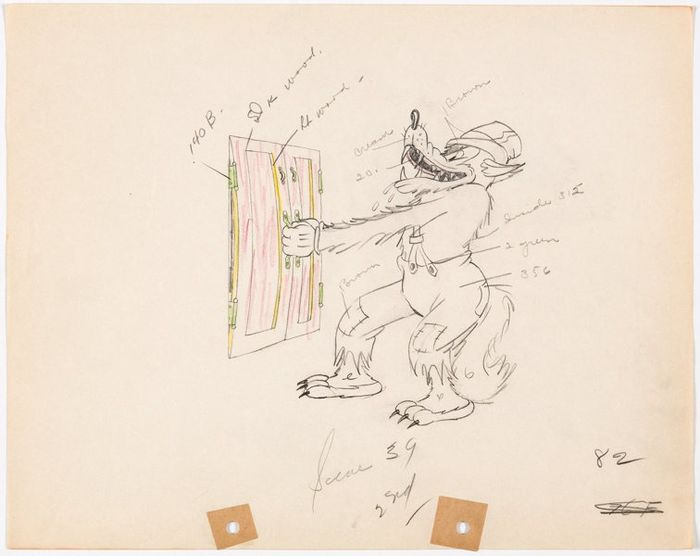 "Walt Disney Studios - 2 Original Animation drawings - ""The Big Bad Wolf"" - (1934)"