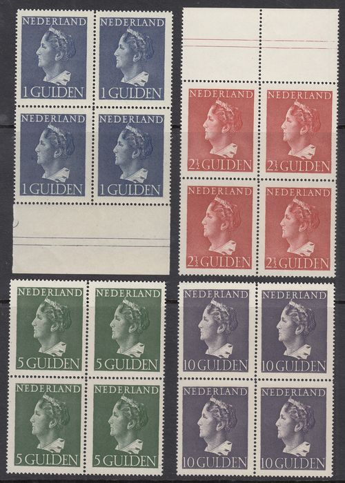 Netherlands 1946 - Queen Wilhelmina type 'Konijnenburg' in blocks of four - NVPH 346/349