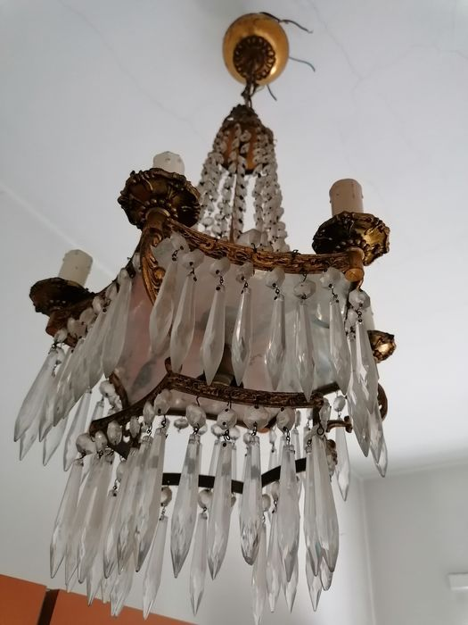 Lampadario Cristallo  - Brass, Crystal - Late 19th century