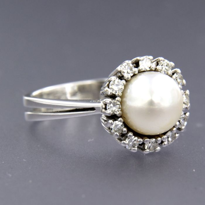 14 kt. Freshwater pearl, White gold, 7.7 mm - Ring - 0.25 ct Diamond