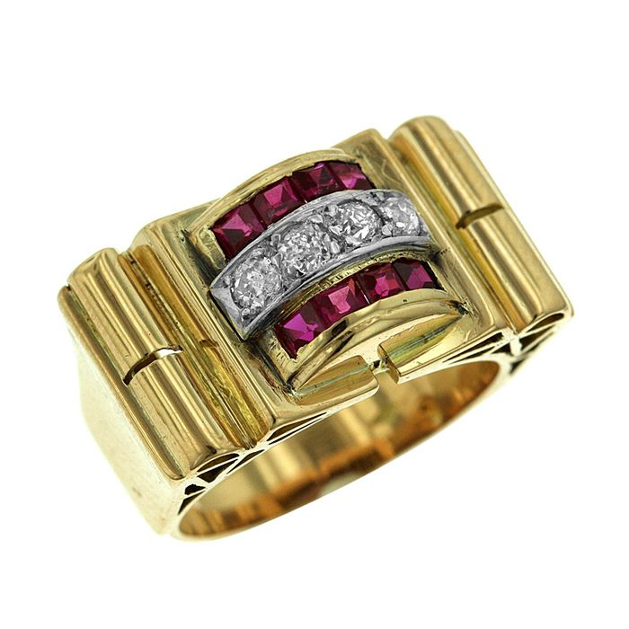 18 kt. Bicolour, White gold, Yellow gold - Ring - 0.15 ct Diamond - Rubys