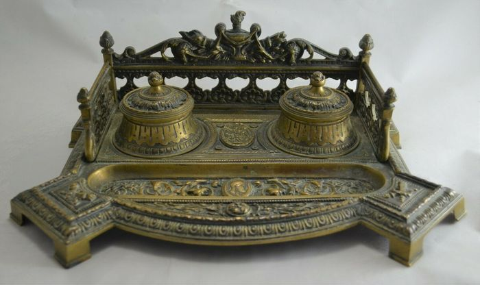 Inkwell - Empire Style - Brass - Late 19th century