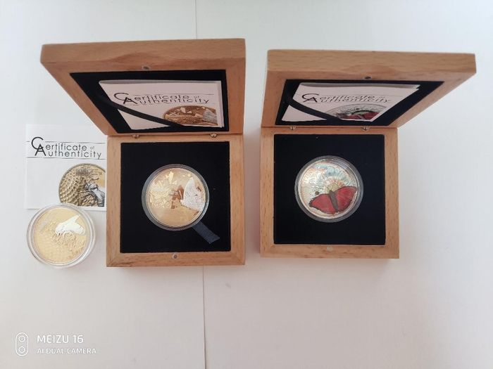 Cook Islands, Tanzania - 2 x 5 Dollar 2014/2015 + 1000 Shiling 2016 BUTTERFLY Shades of Nature Silver,HONEY BEE Shades of Nature,BUTTERFLY 3D Exotic Butterflies - Silver