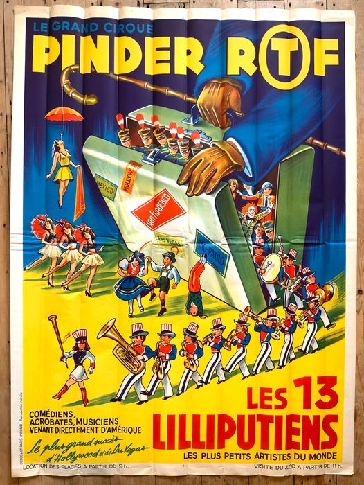 Unknown - Cirque PINDER ORTF Circus Poster Featuring LES 13 LILLIPUTIENS - 1966