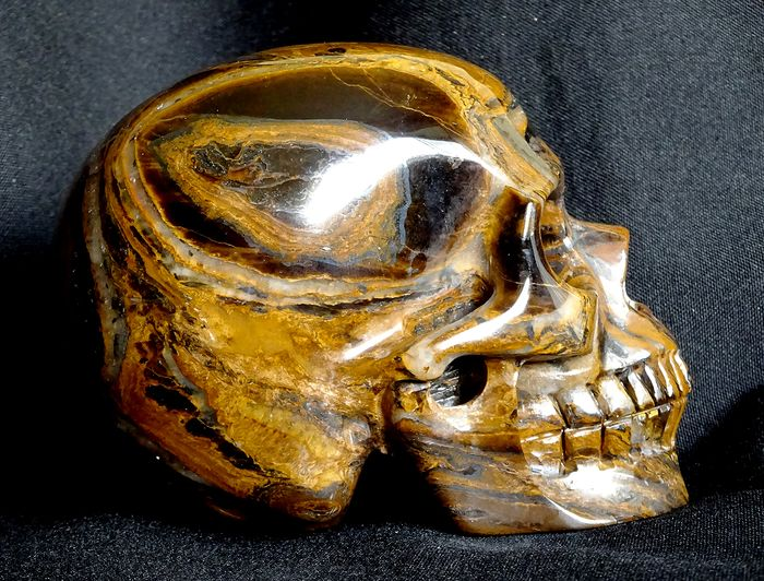 Tiger Eye Skull with Gold and Silver Layers - 117×86×73 mm - 1150 g
