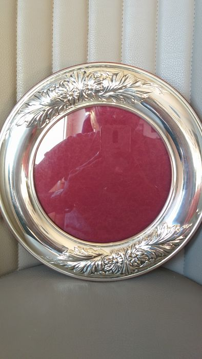 LARGE 28 Cm SPLENDID FLORENCE ROUND PHOTO FRAME (1) - .925 silver - Italy - Mid 20th century
