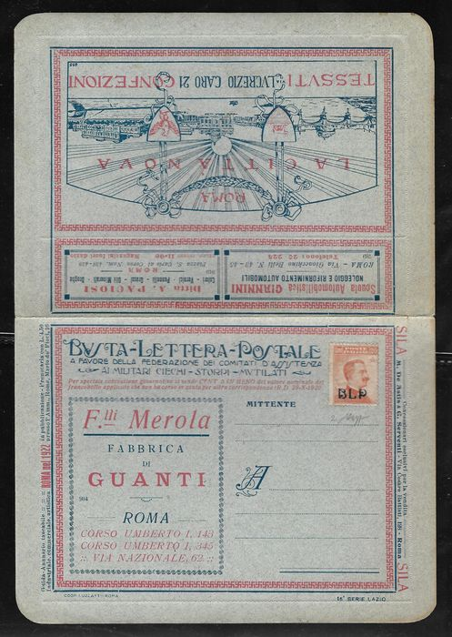 Italien Königreich 1922 - Postal letter envelope, 20 cents, orange with 1st type BLP - Sassone N. 2