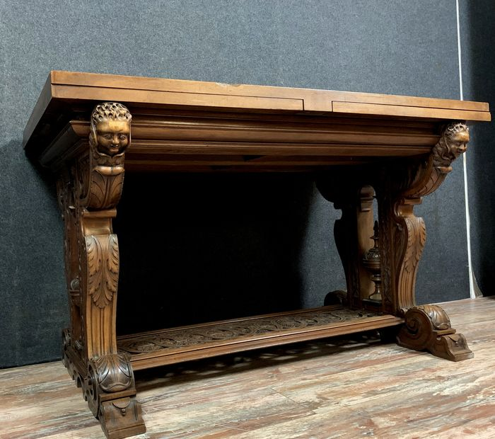 Table - Renaissance style - with extension tray - Walnut - Mid 19th century