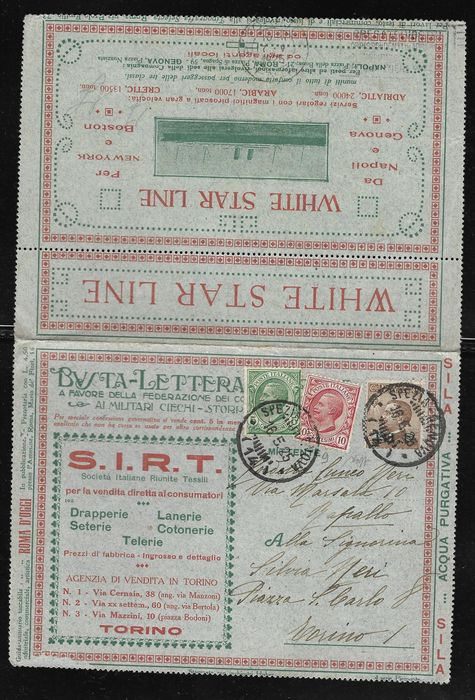 Italy Kingdom 1922 - Postal letter envelope stamped with 40 cents and complementary piece from La Spezia to Turin - Sassone N. 9