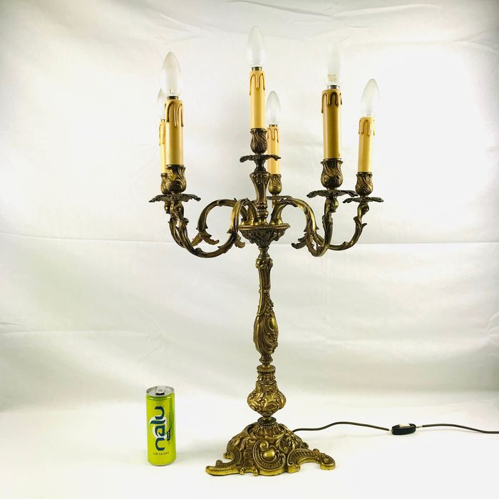 A large bronze gilded 5-armed candlestick with lighting approx. 1930 (80cm) - Rococo Style - Bronze, Gilt - First half 20th century
